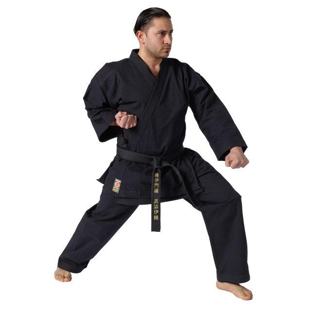 KWON Karate Anzug Traditional schwarz, 12oz 170