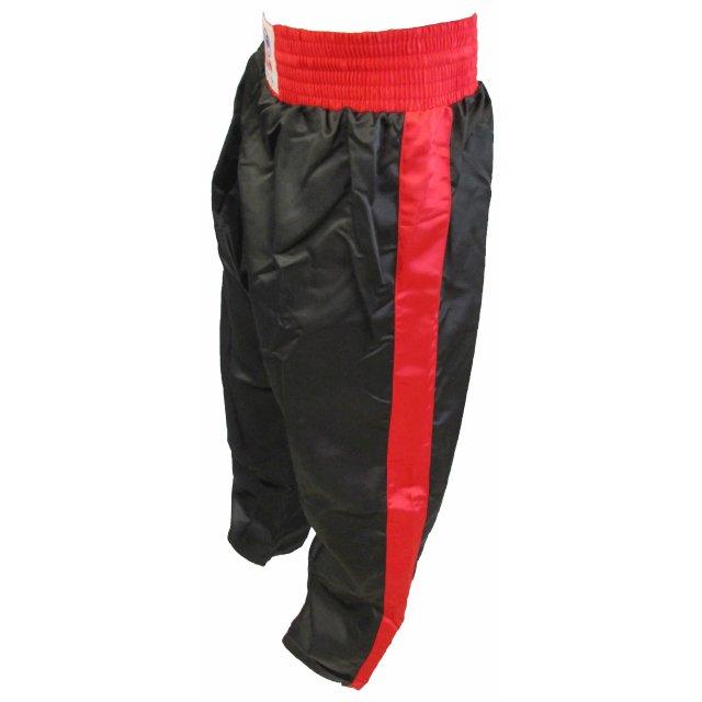 Orkan Satinhose mit Streifen schwarz/rot 160