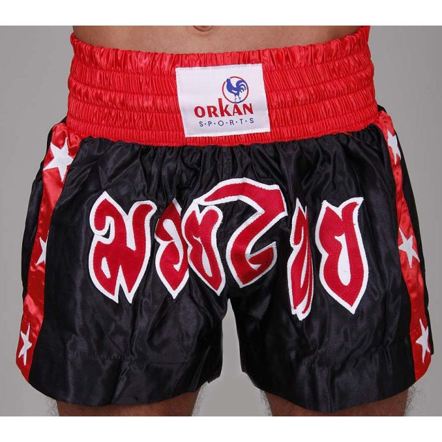 Orkan Thai-Box Shorts schwarz/rot L