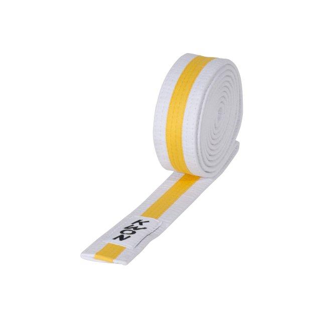 KWON Budo-Gürtel mehrfarbig weiß/gelb/weiß 200