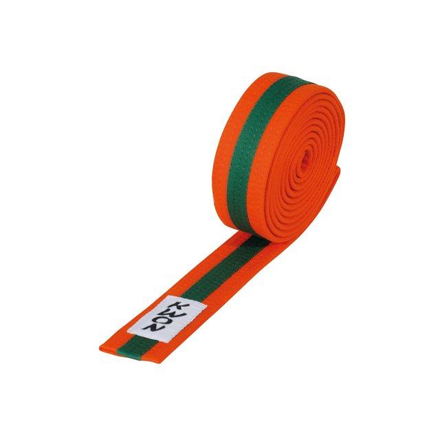 KWON Budo-Gürtel mehrfarbig orange/grün/orange 240