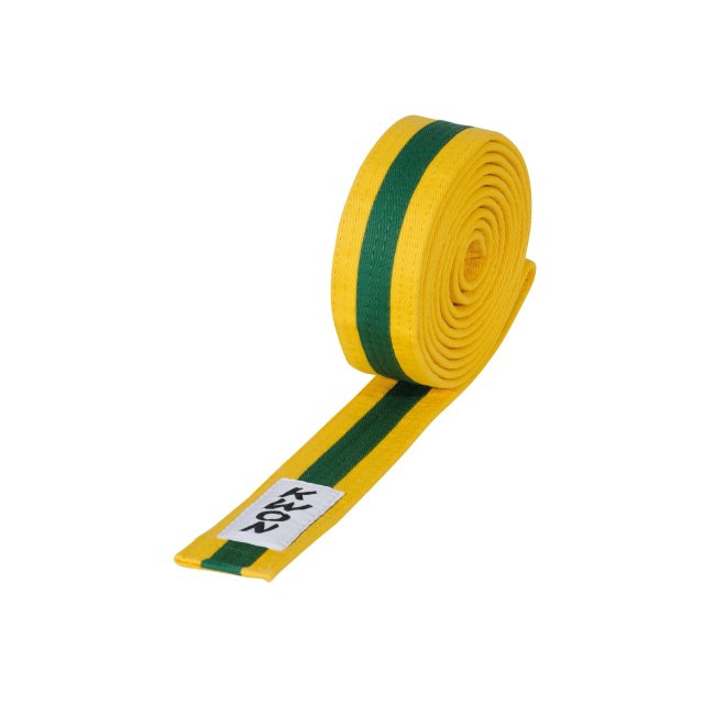 KWON Budo-Gürtel mehrfarbig gelb/grün/gelb 220
